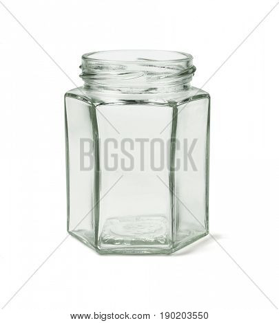 Empty Hexagonal Shape Glass Container on White Background
