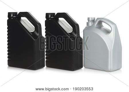 Row of Three Plastic Motor Oil Containers on White Background