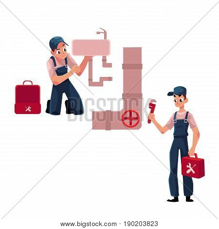 Plumbing specialist with wrench and toolbox repairing kitchen sink, wash basin, sewer pipe cartoon vector illustration isolated on white background. Plumber, plumbing specialist fixing sink, pipe poster