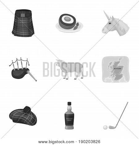 National symbols of Scotland. Scottish attractions. Scotland country icon in set collection on monochrome style vector symbol stock  illustration.