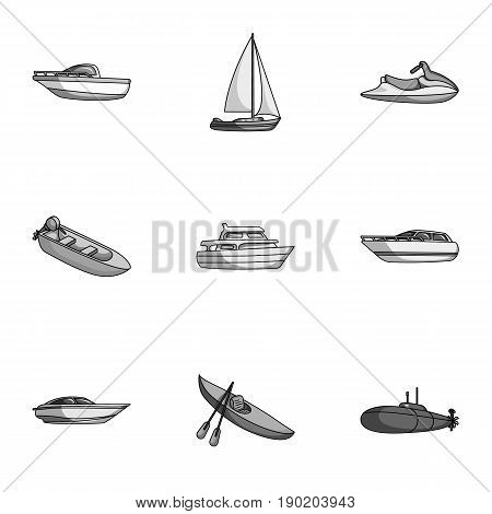 Sea transport, boats, ships. To transport people, thunderstorms. Ship and water transport icon in set collection on monochrome style vector symbol stock  illustration.