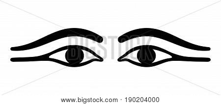 Ancient Egypt eyes with long eye lids. Black eyeliner makeup with almond eye look. Makeup, used by men and women, made with kohl and to prevent ocular infections. Black and white illustration. Vector.