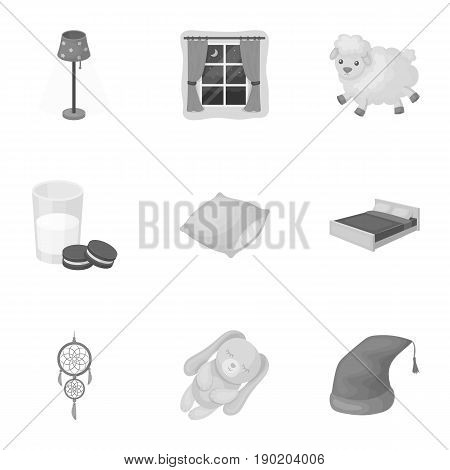 A set of pictures on a theme a dream, rest. Bed accessories for rest.Sleep and rest icon in set collection on monochrome style vector symbol stock  illustration.