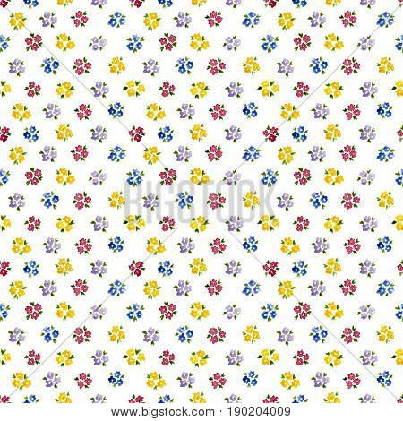 Calico Watercolor Forget Me Not Pattern. Pretty Seamless Cute Small Flowers For Fabric Design. Calic