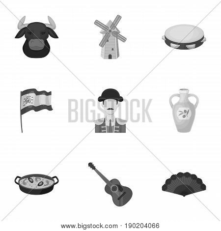 A set of pictures about Spain. Sights of Spain, gypsies, guitar, dances.Spain country icon in set collection on monochrome style vector symbol stock  illustration.