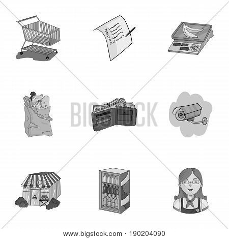 Supermarket, shopping in the store. A selection of pictures on the topic of shopping.Supermarket icon in set collection on monochrome style vector symbol stock  illustration.