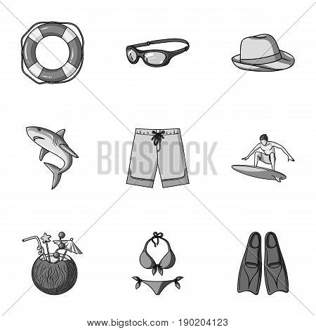 A collection of pictures on the theme of the beach, the sea, surfing. Rescuers of the beach.Surfing icon in set collection on monochrome style vector symbol stock  illustration.
