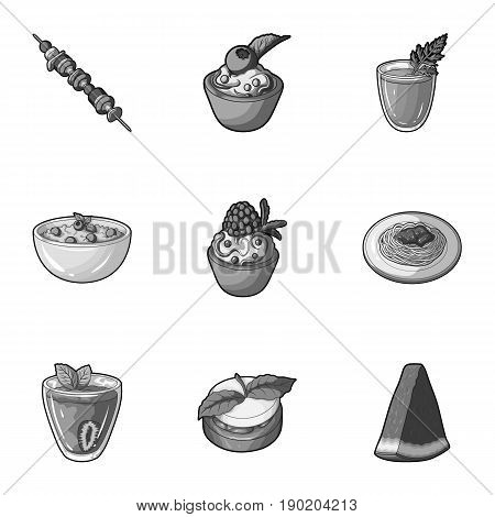 Pictures about vegetarianism. Vegetarian dishes, food vegetarian. Vegetables, fruits, herbs, mushrooms. Vegetarian dishes icon in set collection on monochrome style vector symbol stock  illustration.