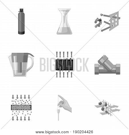Set of icons on the theme of water. Water is the most important in the world. water filtration icon in set collection on monochrome style vector symbol stock  illustration.