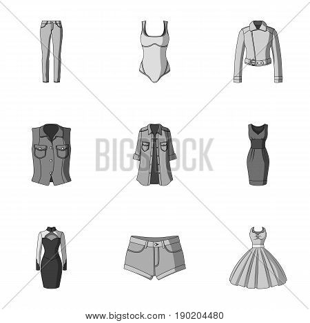 Collection of icons of womens clothing. Various women's clothes for work, walking, sports. Women clothing icon in set collection on monochrome style vector symbol stock  illustration.