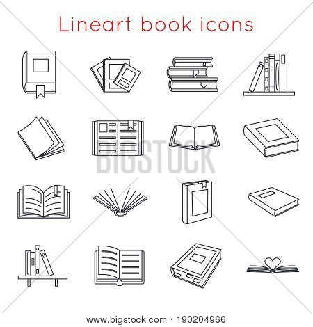 Lineart Book Icons Symbols Logos Set Template Web Isometric Isolated Vector Illustration