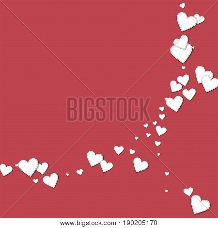 Beautiful Paper Hearts. Abstract Crescents On Crimson Background. Vector Illustration.