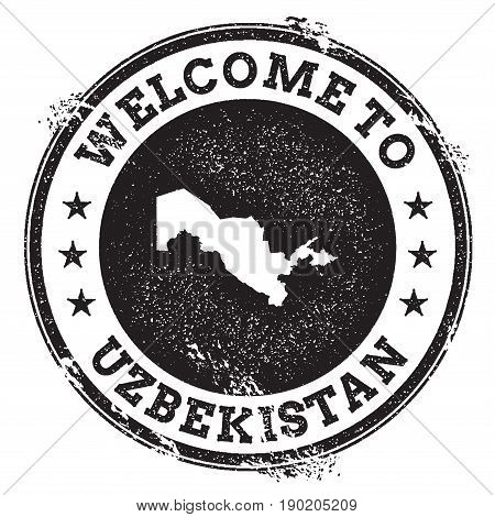 Vintage Passport Welcome Stamp With Uzbekistan Map. Grunge Rubber Stamp With Welcome To Uzbekistan T