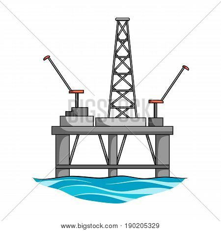 Oil rig on the water.Oil single icon in cartoon style vector symbol stock illustration .