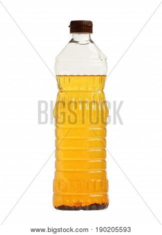 Used palm oil in bottle isolated on white background
