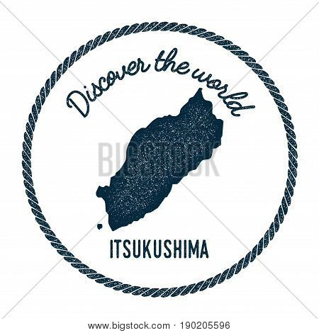 Itsukushima Map In Vintage Discover The World Insignia. Hipster Style Nautical Postage Stamp, With R