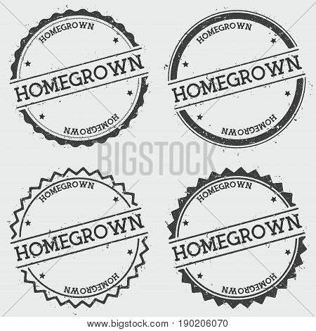 Homegrown Insignia Stamp Isolated On White Background. Grunge Round Hipster Seal With Text, Ink Text