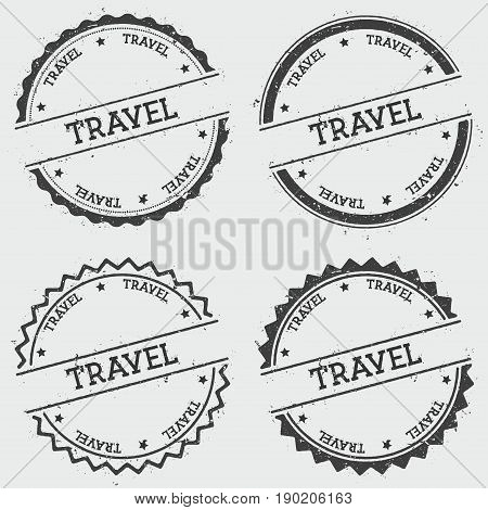 Travel Insignia Stamp Isolated On White Background. Grunge Round Hipster Seal With Text, Ink Texture