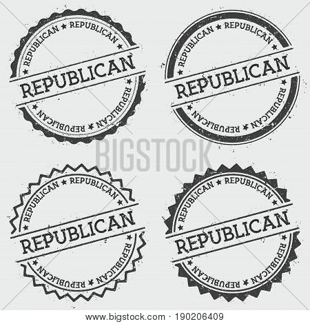 Republican Insignia Stamp Isolated On White Background. Grunge Round Hipster Seal With Text, Ink Tex