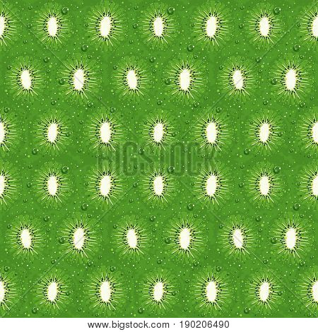 Kiwi seamless pattern texture cut with black seed and small water drops, fruit detailed background, fresh cut kiwifruit texture