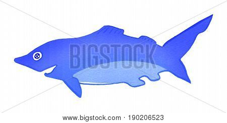 Blue Shark isolated on white background, gouache