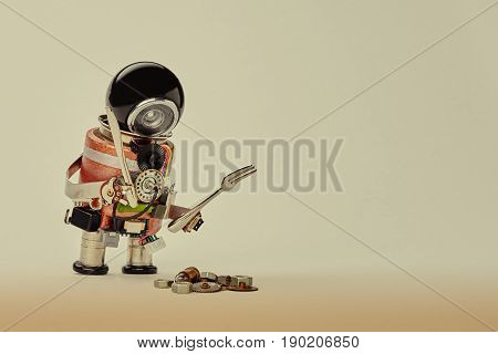 Cooking kitchen chef character with fork knife and abstract breakfast. Food menu concept with friendly robot, black helmet electric wires transistors on beige gradient background copy space
