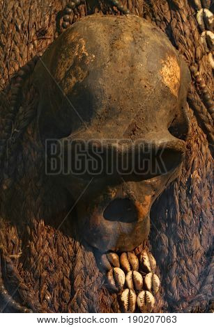 Human Skull For African Rites In An African Village