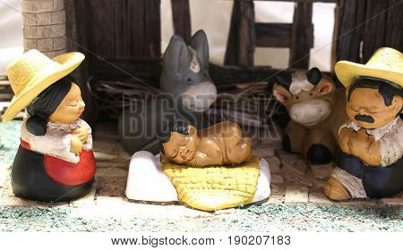 Mexican Nativity Set With The Holy Family With The Statues Of Th