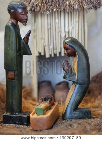 Nativity Scene With The Holy Family From Angola In African Style