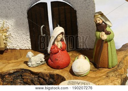 Nativity Scene With The Holy Family With A Ceramic Sheep