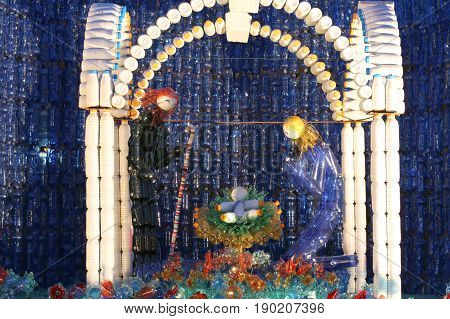 Nativity Set Made With Many Plastic Bottles