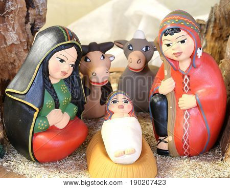 Peruvian Holy Family With South America Dressed With Two Animals