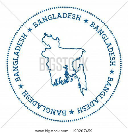Bangladesh Vector Map Sticker. Hipster And Retro Style Badge With Bangladesh Map. Minimalistic Insig