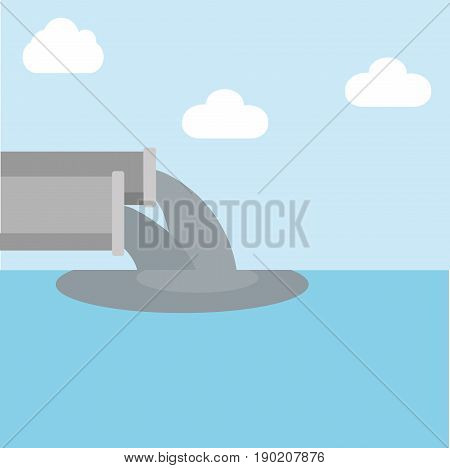 vector illustration water pollution from industry.dirty waste water in the sea