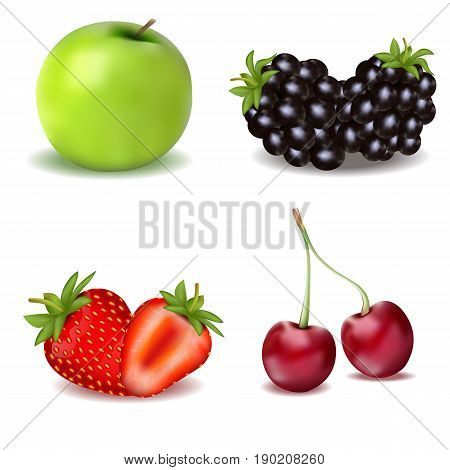 A Set Of Useful Fruits And Berries. An Apple. Strawberry. Blackberry And Cherry.