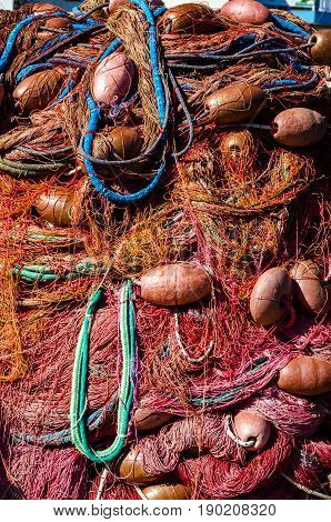 A mass of fishing net with floaters