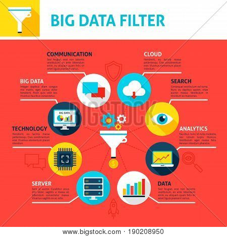 Big Data Filter Infographics. Flat Design Vector Illustration of Business Analysis Concept.