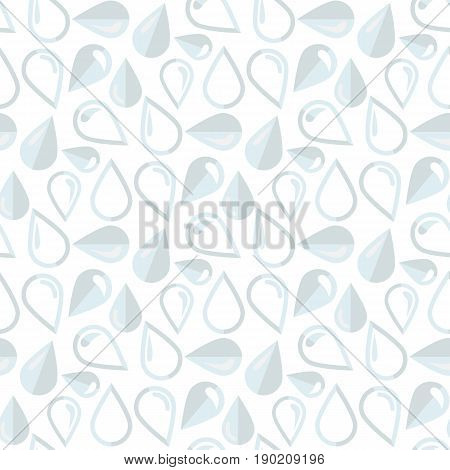 Vector drop pattern on a white background .Drop icons in different shape.Cartoon vector flat style illustration. Clean drop water or drop of oil.