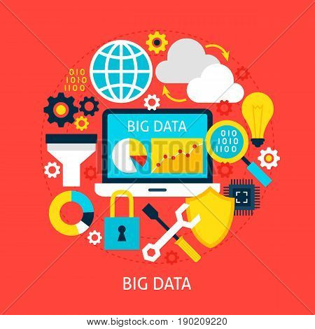 Big Data Flat Concept. Poster Design Vector Illustration. Set of Business Analytics Objects.