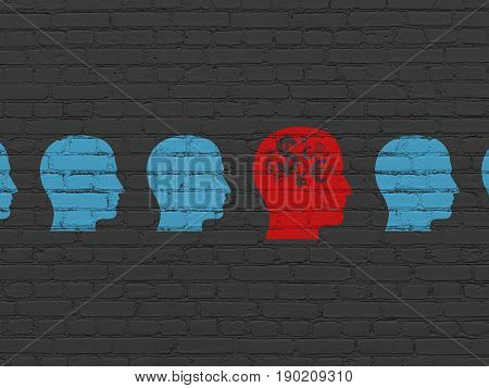Business concept: row of Painted blue head icons around red head with finance symbol icon on Black Brick wall background