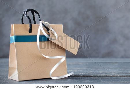 Gift bag with blank label with space