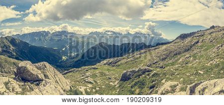 Panoramic view of Brenta group. Dolomites in Italy.