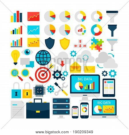 Big Data Objects Set. Flat Design Vector Illustration. Business Analytics Colorful Items.