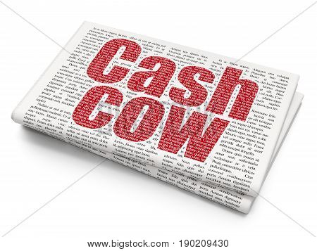 Business concept: Pixelated red text Cash Cow on Newspaper background, 3D rendering