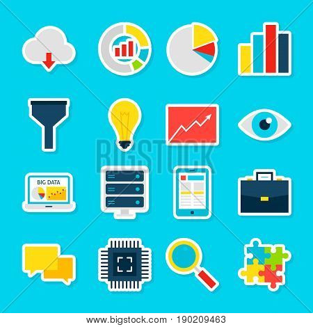 Big Data Stickers. Vector Illustration Flat Style. Collection of Business Analytics Symbols.