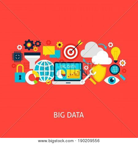 Big Data Flat Concept. Poster Design Vector Illustration. Set of Business Analysis Colorful Objects.