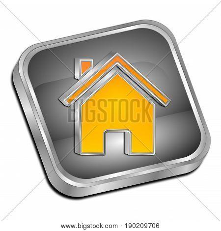 silver orange Home Button - 3D illustration