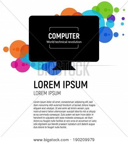 New isolated black computer. The latest technological miracle Monoblock PC model vector illustration on colorful circle background