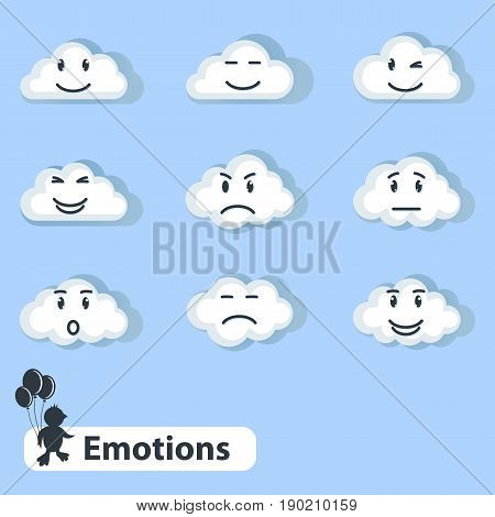 White fluffy cute clouds with emotions and feelings, joy and angry cloud.Vector cartoon flat style illustration.Different clouds on a blue sky.Changing weather forecast