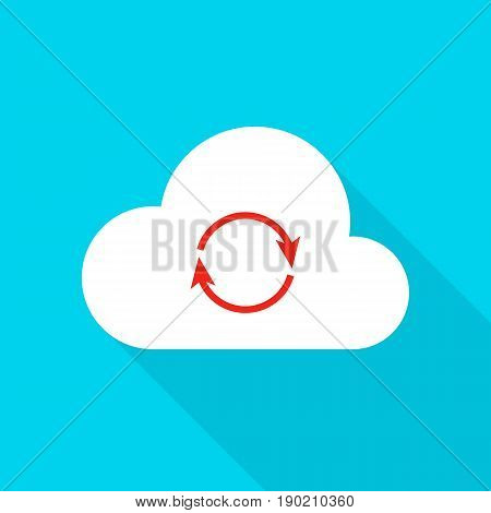 Cloud Technology Icon. Vector Illustration Flat Style Circle Item with Long Shadow. Data Analysis.